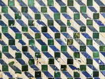 Green and Blue Geometric Tile Pattern Stock Photo