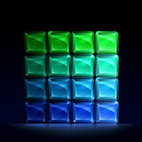 Green and blue glass blocks. Group of green and blue glass blocks forming a square Royalty Free Stock Photography