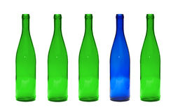 Green and Blue glass bottles Royalty Free Stock Photo