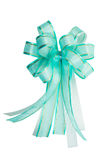 Green-blue and gold-trimmed ribbon bow isolated Royalty Free Stock Photography