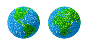 Green and blue grass Earth Globe. 3D render Royalty Free Stock Photography