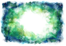 Green and blue grung style watercolor hand painting white backgr Royalty Free Stock Photo