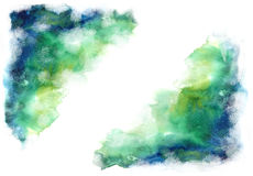 Green and blue grung style watercolor hand painting white space Royalty Free Stock Photos