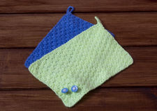 Green and Blue Hand-Knitted Napkins stock photos