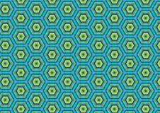 Green Blue Hexagon Pattern Stock Images