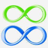 Green and blue infinity. Two varicoloured  signs of infinity on a white background Royalty Free Stock Photo