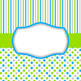Green blue invitation card with polka dots and stripes. Square invitation card or tag with polka dots, stripes and a frame for text or image Royalty Free Stock Photos