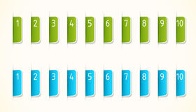Green and blue labels. With numbers Stock Images