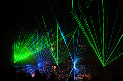 Green blue laser show Royalty Free Stock Photos