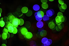 Green and blue light bokeh abstract background Stock Photos