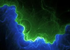 Green and blue lightning bolt. Abstract electrical background Royalty Free Stock Photography