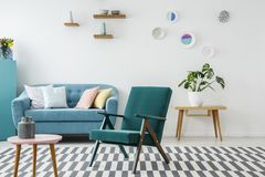 Green and blue living room Stock Image