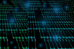 Green and Blue Matrix Design. Matrix of green and blue lights and lines on black background stock illustration