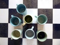 Blue and Green Mugs royalty free stock images