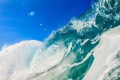 Green Blue Ocean Wave for Surfing In Tahiti Royalty Free Stock Image