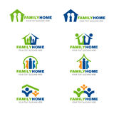 Green blue and orange family home logo vector set design Stock Image