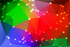 Green blue orange red geometric background with lights. Green blue orange red abstract low poly geometric background with defocused lights Royalty Free Stock Photos