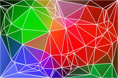 Green blue orange red geometric background with mesh. Green blue orange red abstract low poly geometric background with white triangle mesh Stock Image