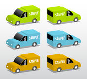 Green, blue and orange vans. Colored vans, cartoon 3d illustration with place for your text Stock Image