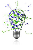 Green blue paint splah made light bulb. Green blue paint splah made conceptual light bulb royalty free illustration