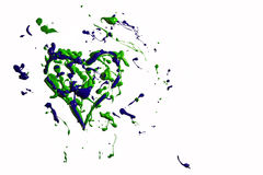 Green blue paint splash made heart Stock Images
