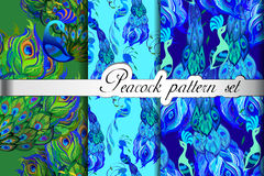 Green blue peacock feathers abstract seamless patterns set, vector illustration Stock Photography