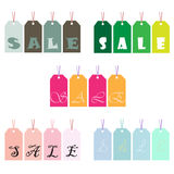 Green blue pink orange Price tags symbolising SALE. EPS file available Stock Images