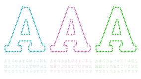 Green, blue and pink pushpin letters and numbers Stock Image