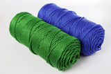 Green and blue polyester rope - close up Stock Photos