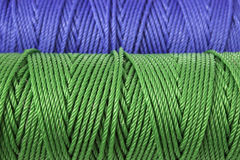 Green and blue polyester rope - close up Royalty Free Stock Images