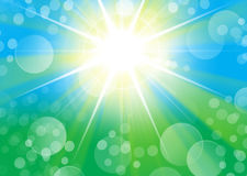Green blue portrait background with starburst light and bokeh. Portrait background with starburst light and bokeh royalty free illustration