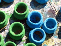 Green & Blue Pots. Traditional Green and Blue pots are kept for sale in a street side shop in India Royalty Free Stock Image