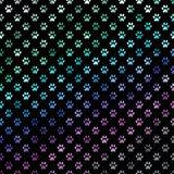 Green Blue Purple Rainbow Dog Paws Metallic Foil Polka Dot Paw Pattern Background Stock Images