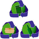 Green and blue recycling signs Royalty Free Stock Photo