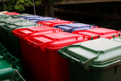 Green,Blue , red bins , recycling bins Stock Photography