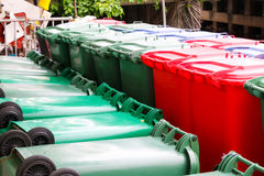 Green,Blue , red bins , recycling bins Royalty Free Stock Photography