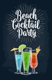 Green, blue and red cocktail with slice lime, lemon and umbrella. Vintage vector engraving illustration with lettering. Isolated on dark background. For poster vector illustration