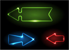 Green, blue and red neon arrows Royalty Free Stock Image