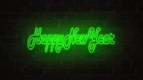 Green Blue Red Neon signboard 2018 happy new year lighting up against a Brick wall stock illustration