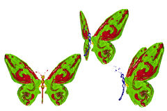 Green, blue and red paint made butterfly set Royalty Free Stock Photography