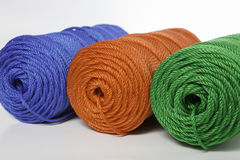 Green, blue and red polyester rope - close up Royalty Free Stock Photo