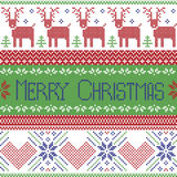 Green blue and red Scandinavian merry christmas sign inspired by  nordic pattern in cross stitch with reindeer, snowflake, tree, s Royalty Free Stock Photo