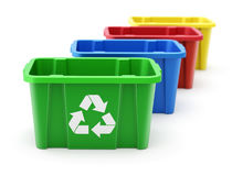 Green, blue, red and yellow recycle crate Royalty Free Stock Photos