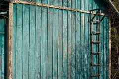 Green-blue rural wooden wall with ladder. Green - blue rural wooden wall with ladder royalty free stock photography
