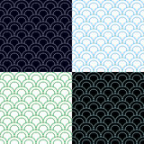 Green and Blue Scales Seamless Pattern Set Royalty Free Stock Photos