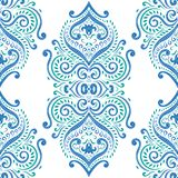 Green and blue seamless pattern with ornamental flowers. Paisley elements. Ornament. Traditional, Ethnic, Turkish, Indian motifs. Great for fabric and textile Stock Images