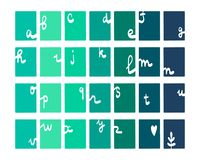 Green and blue set of gradient letters hand drawn alphabet. Cartoon minimalism royalty free illustration