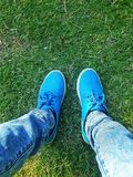 Green Blue Shoes royalty free stock photos