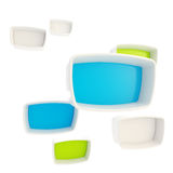 Green and blue showcase plastic boxes Stock Images
