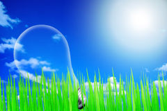 Green with blue sky and light bulb Royalty Free Stock Images
